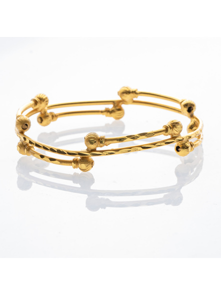 """Traditional Ethnic Jewellery 1.5g Gold Polished Designer Round Designer Bangle for Women (2 Pieces)-Gold-Copper-Adult-Female-2.4""""-2"""