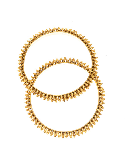 Traditional Ethnic Jewellery 1.5g Gold Polished Designer Bangle - Set of 2 for Women (2 Pieces)-LAAGP15BG006
