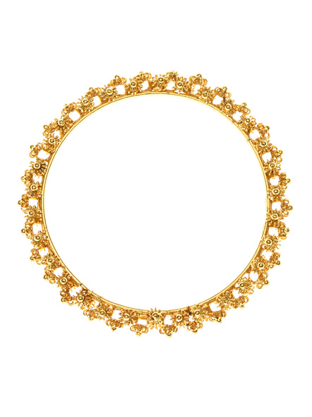 Traditional Ethnic Jewellery 1.5g Gold Polished Designer Floral Bangle  for Women (1 Piece)-LAAGP15BG005