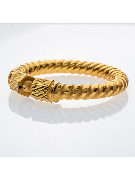 """Traditional Ethnic Jewellery 1.5g Gold Polished Designer Spiral Thick Bangle Sarada Bala 2.8size - 1 Pair for Women (2 Pieces)-Gold-Copper-Adult-Female-2.8""""-1"""