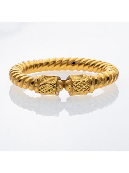 Traditional Ethnic Jewellery 1.5g Gold Polished Designer Spiral Thick Bangle Sarada Bala 2.8size - 1 Pair for Women (2 Pieces)-LAAGP15BG004