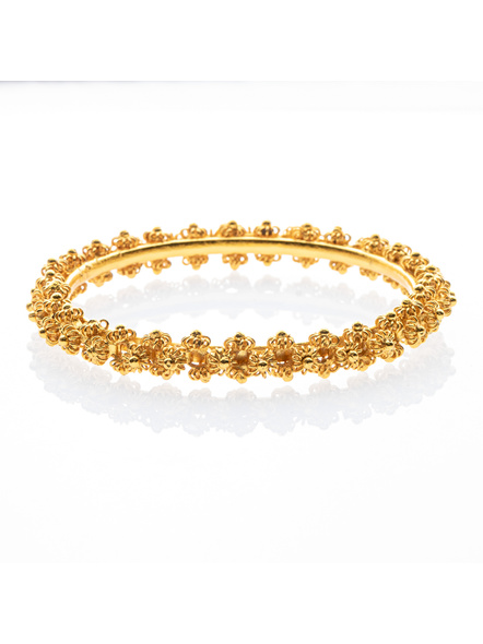 """Traditional Ethnic Jewellery 1.5g Gold Polished Designer Floral Bangle  for Women (1 Piece)-Gold-Copper-Adult-Female-2.5""""-2"""