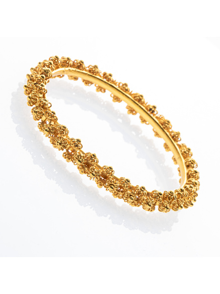 """Traditional Ethnic Jewellery 1.5g Gold Polished Designer Floral Bangle  for Women (1 Piece)-Gold-Copper-Adult-Female-2.5""""-1"""