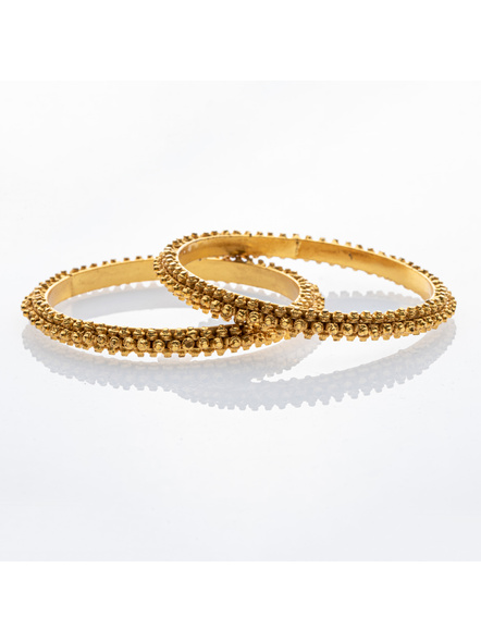 """Traditional Ethnic Jewellery 1.5g Gold Polished Designer Bangle - Set of 2 for Women (2 Pieces)-Gold-Copper-Adult-Female-2.6""""-2"""