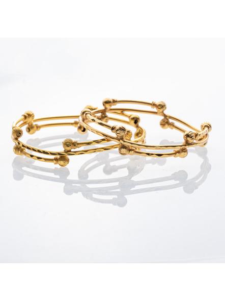 Traditional Ethnic Jewellery 1.5g Gold Polished Designer Round Designer Bangle for Women (2 Pieces)-LAAGP15BG007