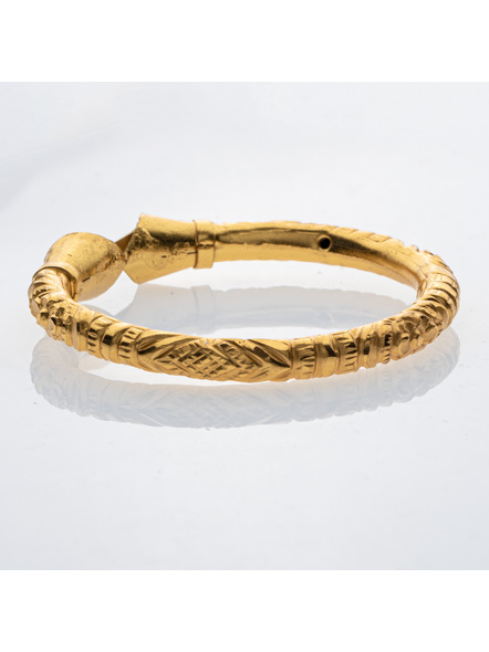 """Traditional Ethnic Jewellery 1.5g Designer Drop Shaped Bangle for Women (1 Piece)-Gold-Copper-Adult-Female-2.6""""-3"""