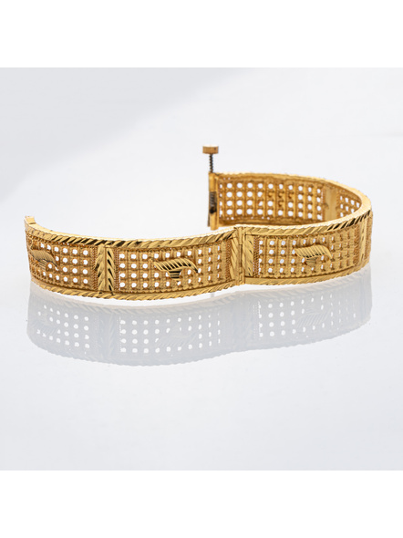 """Traditional Ethnic Jewellery 1.5g Gold Polished Designer Open Thick Bangle for Women (1 Piece)-Gold-Copper-Adult-Female-2.3""""-2"""