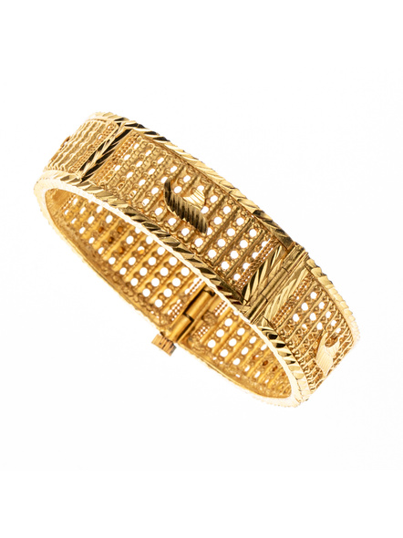 """Traditional Ethnic Jewellery 1.5g Gold Polished Designer Open Thick Bangle for Women (1 Piece)-Gold-Copper-Adult-Female-2.3""""-1"""