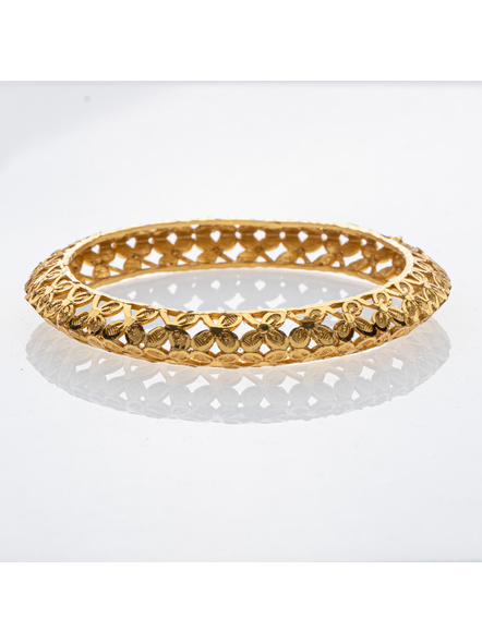 """Traditional Ethnic Jewellery Designer 1.5g Floral Bangle for Women (1 Piece)-Gold-Copper-Adult-Female-2.4""""-1"""