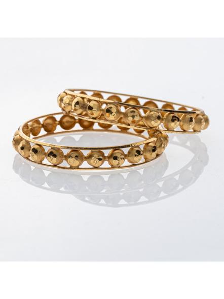 Traditional Ethnic Jewellery Designer 1.5g Gold Polished Half Circle Bangle - Set of 2 for Women (2 Pieces)-LAAGP15BG014
