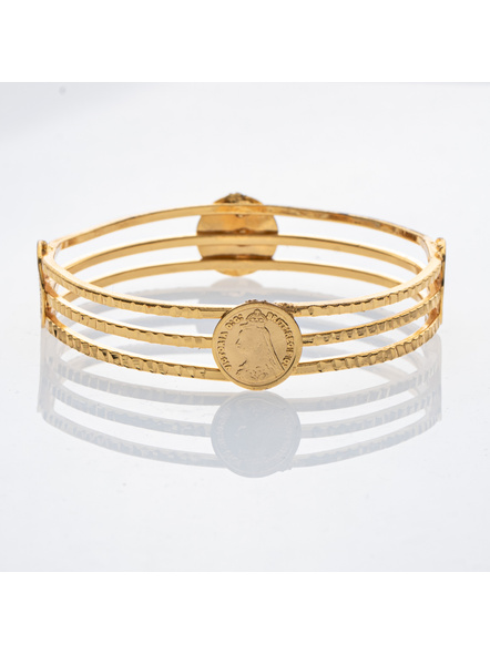 Traditional Ethnic Jewellery Victorian Coin Studden 1.5g Gold polished Designer Bangle for Women (1 Piece)-LAAGP15BG015