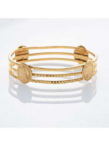 """Traditional Ethnic Jewellery Victorian Coin Studden 1.5g Gold polished Designer Bangle for Women (1 Piece)-Gold-Copper-Adult-Female-2.4""""-3"""