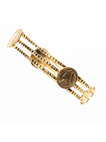 """Traditional Ethnic Jewellery Victorian Coin Studden 1.5g Gold polished Designer Bangle for Women (1 Piece)-Gold-Copper-Adult-Female-2.4""""-2"""