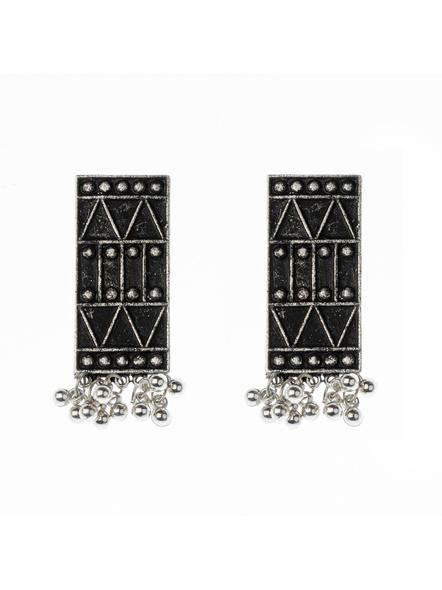 Handcrafted Designer Rectangular Black Polish Neckpiece  with Matching Earring-2