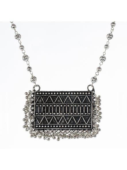 Handcrafted Designer Rectangular Black Polish Neckpiece  with Matching Earring-1