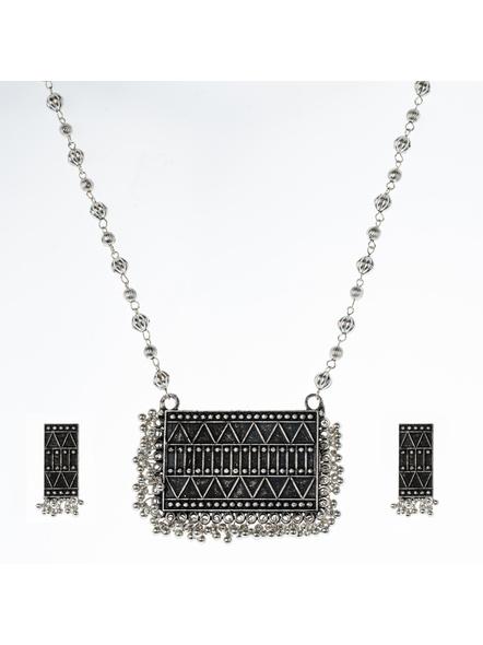 Handcrafted Designer Rectangular Black Polish Neckpiece  with Matching Earring-LAANSNLS008