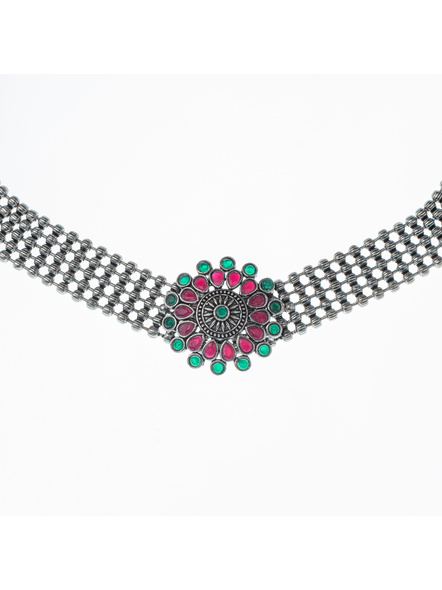 Handcrafted Designer German Silver Pink Green Stone Studded Floral Choker with Matching Earning and Black Adjustable Dori-1