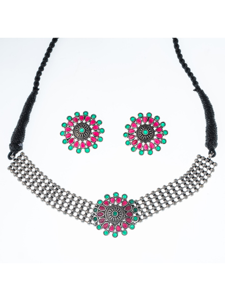 Handcrafted Designer German Silver Pink Green Stone Studded Floral Choker with Matching Earning and Black Adjustable Dori-LAANSNLS009