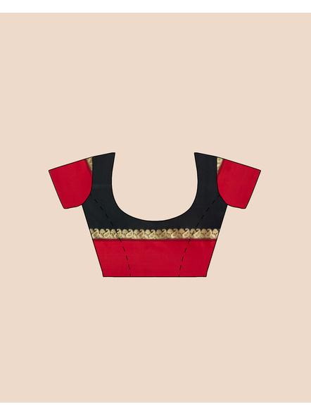 Black with Red Border Garad Kanchipuram Style Golden Zari Work Silk Blend Saree with Blouse Piece-Black-Art Silk-Free-Female-Adult-5