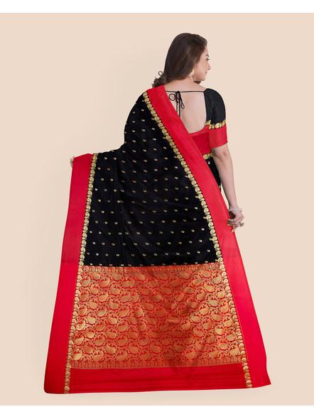 Black with Red Border Garad Kanchipuram Style Golden Zari Work Silk Blend Saree with Blouse Piece-1