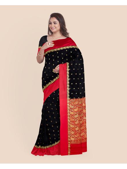 Black with Red Border Garad Kanchipuram Style Golden Zari Work Silk Blend Saree with Blouse Piece-4