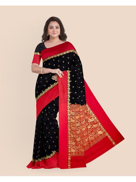 Black with Red Border Garad Kanchipuram Style Golden Zari Work Silk Blend Saree with Blouse Piece-LAAGKASWBP04