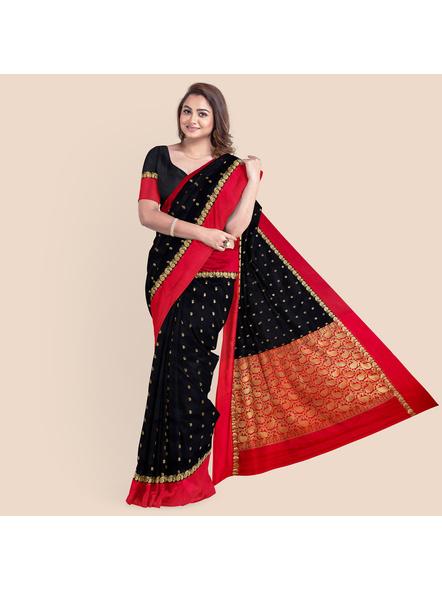 Black with Red Border Garad Kanchipuram Style Golden Zari Work Silk Blend Saree with Blouse Piece-2
