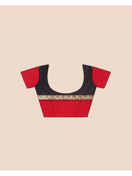 Black with Red Border Garad Kanchipuram Style Golden Zari Work Silk Blend Saree with Blouse Piece-5