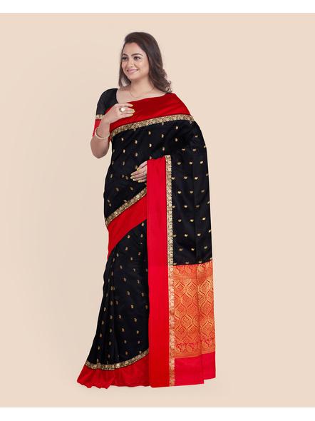 Black with Red Border Garad Kanchipuram Style Golden Zari Work Silk Blend Saree with Blouse Piece-3