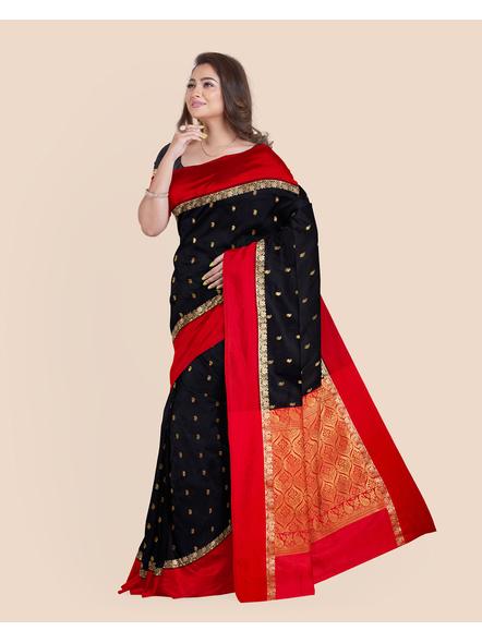 Black with Red Border Garad Kanchipuram Style Golden Zari Work Silk Blend Saree with Blouse Piece-LAAGKASWBP05