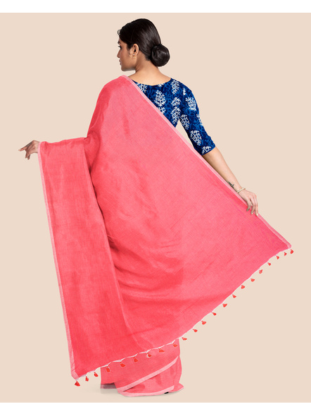 Mercerized Handloom Pastel Rose Pink Khadi Cotton Saree with Pompom and Blouse Piece-1
