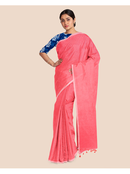 Mercerized Handloom Pastel Rose Pink Khadi Cotton Saree with Pompom and Blouse Piece-2
