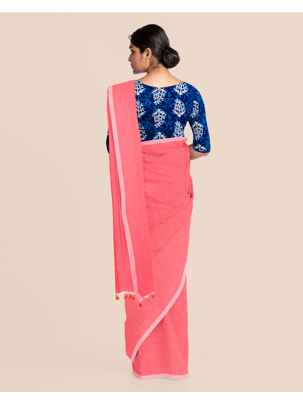 Mercerized Handloom Pastel Rose Pink Khadi Cotton Saree with Pompom and Blouse Piece-3