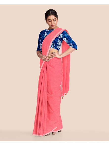 Mercerized Handloom Pastel Rose Pink Khadi Cotton Saree with Pompom and Blouse Piece-4