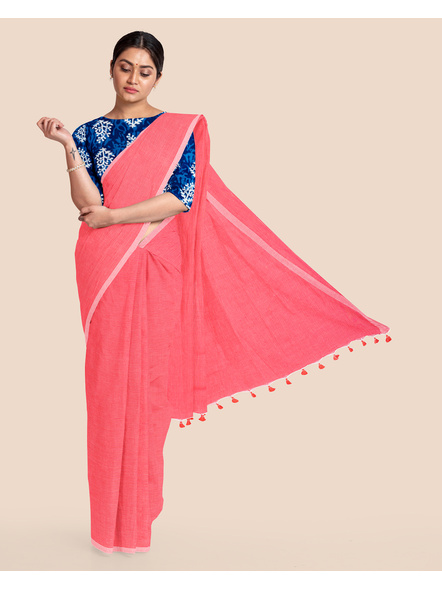 Mercerized Handloom Pastel Rose Pink Khadi Cotton Saree with Pompom and Blouse Piece-LAAMHCWBP010