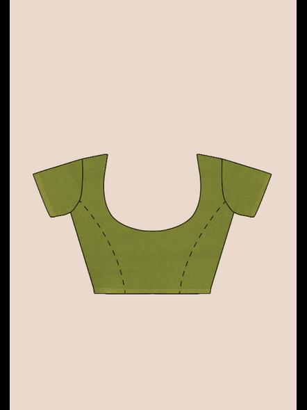 Mercerized Handloom Fern Green Khadi Cotton Saree with Pompom and Blouse Piece-5