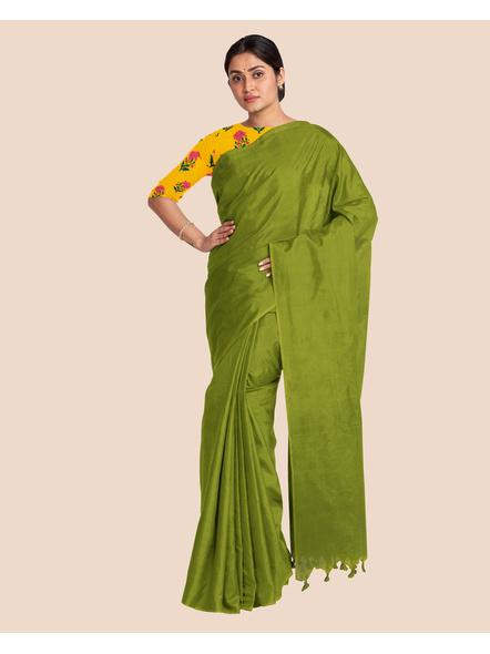 Mercerized Handloom Fern Green Khadi Cotton Saree with Pompom and Blouse Piece-2