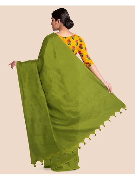 Mercerized Handloom Fern Green Khadi Cotton Saree with Pompom and Blouse Piece-1