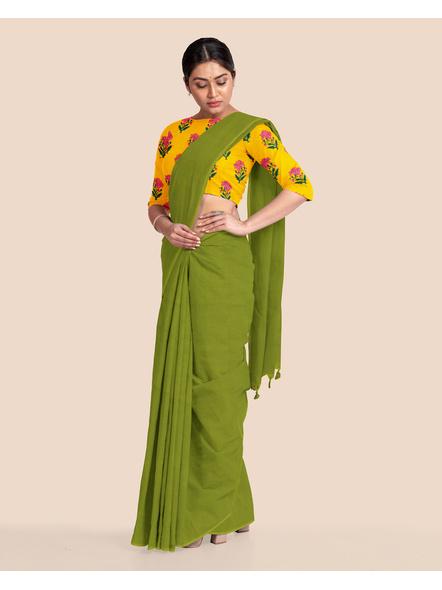 Mercerized Handloom Fern Green Khadi Cotton Saree with Pompom and Blouse Piece-4