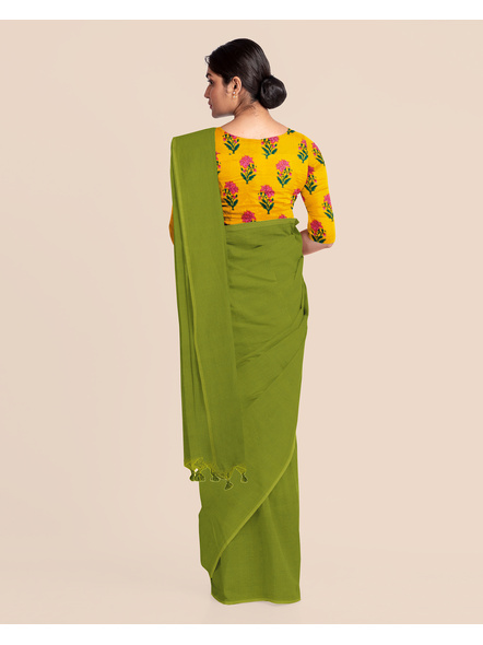 Mercerized Handloom Fern Green Khadi Cotton Saree with Pompom and Blouse Piece-3