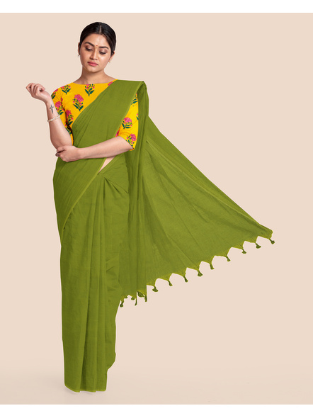 Mercerized Handloom Fern Green Khadi Cotton Saree with Pompom and Blouse Piece-LAAMHCWBP011