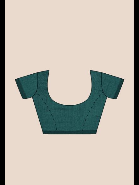 Mercerized Handloom Dark Teal Green Khadi Cotton Saree with Pompom and Blouse Piece-5