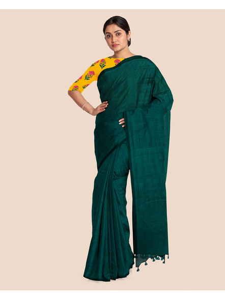 Mercerized Handloom Dark Teal Green Khadi Cotton Saree with Pompom and Blouse Piece-2