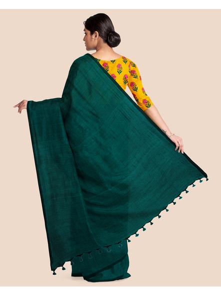 Mercerized Handloom Dark Teal Green Khadi Cotton Saree with Pompom and Blouse Piece-1