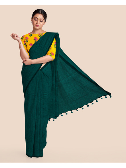 Mercerized Handloom Dark Teal Green Khadi Cotton Saree with Pompom and Blouse Piece-LAAMHCWBP012