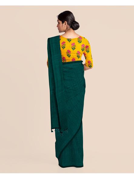 Mercerized Handloom Dark Teal Green Khadi Cotton Saree with Pompom and Blouse Piece-3