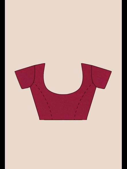 Mercerized Handloom Magenta Khadi Cotton Saree with Pompom and Blouse Piece-5