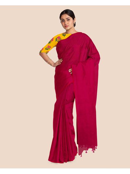 Mercerized Handloom Magenta Khadi Cotton Saree with Pompom and Blouse Piece-2