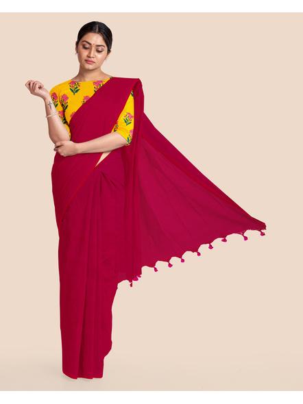 Mercerized Handloom Magenta Khadi Cotton Saree with Pompom and Blouse Piece-LAAMHCWBP013