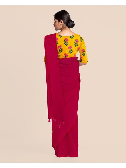 Mercerized Handloom Magenta Khadi Cotton Saree with Pompom and Blouse Piece-3